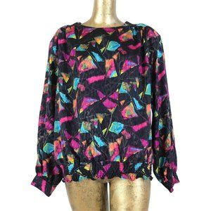 80s Abstract Geometric Silky Long Sleeve Blouse